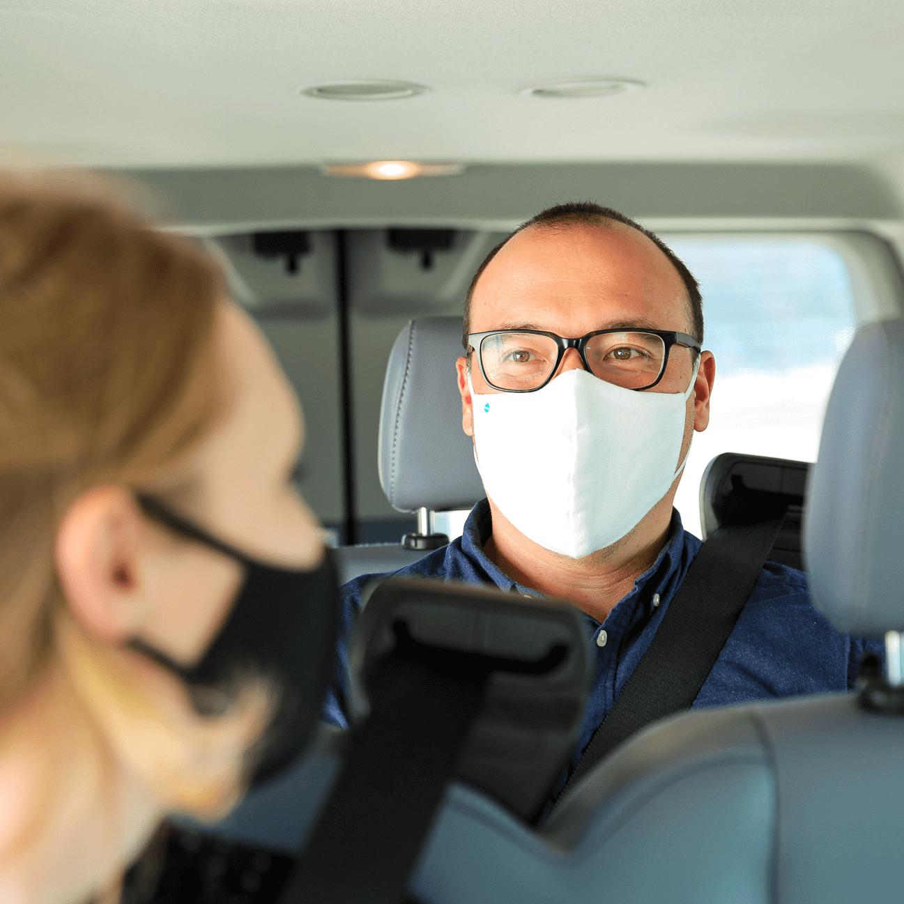 Commuters masked in van